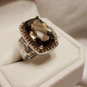 Smoky topaz silver ring